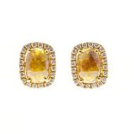 Vintage  .80ct  Cushion Fancy Deep Golden Yellow Diamond 14k Halo Earrings