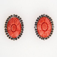OTS Vintage Antique Victorian Revival Pink Coral 9k Gold .04ct Diamond Earrings