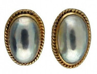Estate 1950s 14k Large Silver Gray Oval Mobe Pearl Twisted Wire Detail Earrings