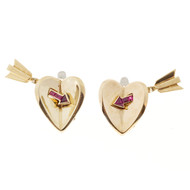 Vintage Blood Red Ruby Retro Deco 14k Yellow Gold Clip Post Arrow Heart Earrings