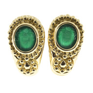 Vintage Italian Carved Hardstone Chrysophase Solid 18k Textured Clip Earrings
