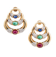 18k Gold Cabochon Ruby Emerald Sapphire Pave Diamond Hinged Crescent Earrings