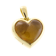 Estate Heavy 18k Solid Gold Handmade Golden Yellow Citrine Heart Hinged Locket