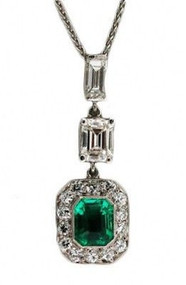 Vintage Estate 1920s Art Deco Platinum Asscher Emerald Diamond 3 Section Pendant