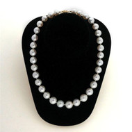 Vintage 18 Inch South Sea Cultured Pearl Necklace Silvery White 10mm to 15mm