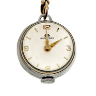 Bucherer 1940 Ball Form Pendant Watch Silver Bar Link Long Chain