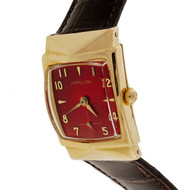 Custom Vintage 1950 Hamilton Gold Strap Watch Custom Colored Bright Red Dial