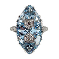 Antique Art Deco 1930 Filigree 3.00ct Natural Aqua 18k White Gold UR Ring