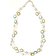 Vintage 3Row Lemon Quartz Blue Topaz Green Amethyst 14k Gold Necklace 70.00cts