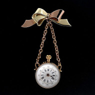 Vintage Cartier Signed Retro Pink Green Gold Bow Pin Ball Style Pendant Watch