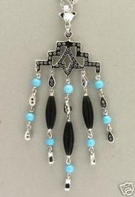 Estate Art Deco 18k Chain Filigree Style Turquoise Diamond & Onyx Tassel Pendant