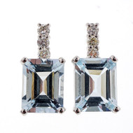 Natural 4.00ct Emerald Cut Aqua 14k White Gold Diamond Drop Earrings
