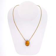 Art Deco Estate 16.00ct Oval Citrine Natural Pearl 14k Yellow Gold Pendant