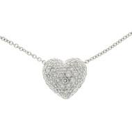 DKW -D Platinum 1.25ct Pave Diamond Heart Pendant Cable Chain