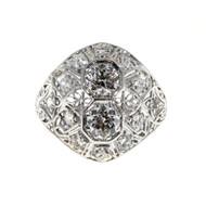 Antique Art Deco Platinum .88ct Diamond Dome Ring 1940