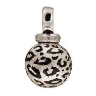 Vintage Designer Sal Praschnik 18k Enamel Cheetah Diamond Round Ball Pendant