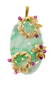Estate 18k Yellow Gold Jadeite Jade & Ruby Hand Carved Floral Pendant