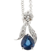 Estate 1950's 14K White Gold Pear Ceylon Sapphire European Cut Diamond Necklace