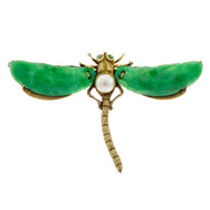 Antique Art Nouveau Natural Jadeite Jade Akoya Pearl Gold Dragonfly Pin