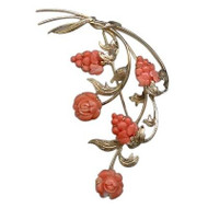 Estate 1960s Large 14k Gold Salmon Coral Engraved Leaves Carved Flower Pin