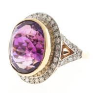 Antique Victorian 1900 10.00ct Amethyst 14k Pink Gold Platinum Diamond Ring