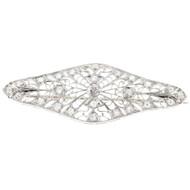 Estate 18k White Gold Hand Pierced Engraved Edwardian 35 Transition Diamond Pin