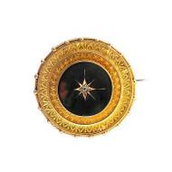 Estate 1870 Victorian Locket 15k Yellow Gold English Granulated Mine Diamond Pin