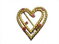 Estate Designer Tiffany + Co 18k Yellow Gold Wire Ruby Double Heart Pin