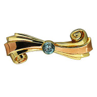 1935-1940 Retro Bright Round Blue Zircon Pink & Green Gold Swirl Ribbon Pin