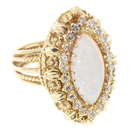 Estate 1950s Raised Top 18k Wire Work Fine Marquise Opal And Round Diamond Ring