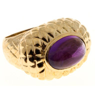 Vintage Oval 15 X 11mm Natural Cabochon Amethyst Solid 14k Gold Dome Ring
