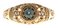 Vintage .25CT Alexandrite 14k Filigree Pierced Engraved Pave Diamond Ring