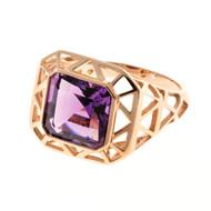 Antique Retro Art Deco 4.20ct Asscher Cut Amethyst 14k Pink Gold Ring