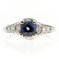 Estate Edwardian Deco Pierced Engraved Platinum Sapphire & Pave Set Diamond Ring