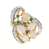 Estate 1950 14k Two Tone Swirl Design Opal & Emerald With Diamond Accent Ring