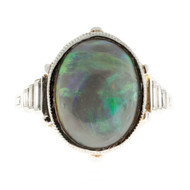 Art Deco 6.50ct Natural Black Cabochon Opal Emerald Cut Diamond Platinum Ring