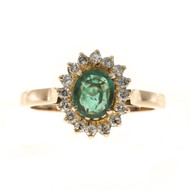Estate 14k Pink Gold Fine Green Oval Center Emerald 16 Full Cut Diamond Ring