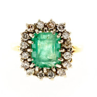 Vintage 1940s 3.50ct Green Emerald 16 Round Diamond .50CT 18k 2 Tone Gold Ring