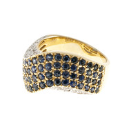 Blue Sapphire 14k Gold Tapered Slightly Domed Swirl Pave Set Round Diamond Ring
