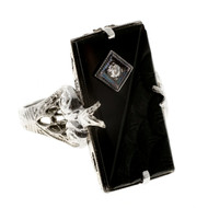 Art Deco 1935 14k White Gold Filigree Side Pierced Top Carved Onyx Diamond Ring
