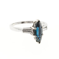 Deep Blue 1.25ct Marquise Sapphire Tapered Baguette Diamond Platinum 14k Ring