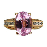 Vintage NH 7.50ct Purple Pink Oval Kunzite 14k Gold 0.10ct Full Cut Diamond Ring