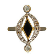 Victorian Rose Cut Diamond Black Diamond Shaped Onyx Ring 14k Yellow Gold Silver