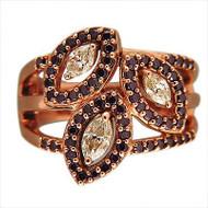 Vintage 14k Pink Gold .40ct Marquise Diamond 63 Bright Red Ruby Ring Designer Sr