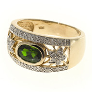 Vintage .90ct Oval Bright Green Tourmaline .15ct Single Cut Diamond 10k Ring