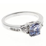 Vintage 1.37ct Natural No Heat Asscher Blue Violet Sapphire 14k White Gold Ring