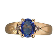 Vintage 1.50ct Purplish Blue Tanzanite 10k Gold Slv .02ct Full Cut Diamond Ring