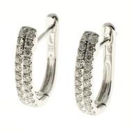 Designer GP Two Row Diamond .46ct Huggie Hoop Earrings