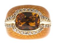 Estate Haggai 14k Yellow Gold Enamel Cushion Citrine And Full Cut Diamond Ring