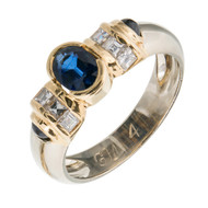 French 18k White Yellow Gold .60CT Cabochon Square Sapphire .40CT Diamond Ring